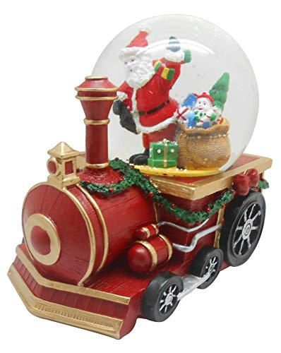Musical Christmas Santa with Gifts Figurine Water Ball Snow Globe on a Train Engine
