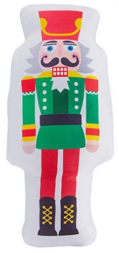 Decorative Christmas Nutcracker Shaped Throw Pillow, Colorful Cracker Christmas Accent Pillow, Nutcracker Cartoon Wooden Soldier Toy from The Ballet Christmas Decor (Toy Soldiers Christmas)