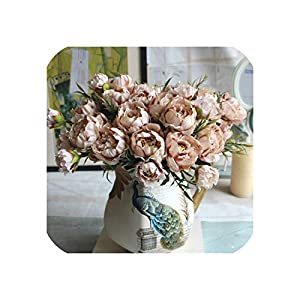 1Pcs Artificial Flower Peony Bouquet European Mini Silk Fake Flower Wedding Party Home Decoration Artificial Plant Decoration 21