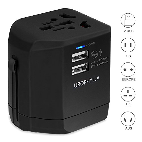 Travel Adapter,UROPHYLLA Universal Adapter 2.5A USB Wall Charger covers 150+countries EU US China UK Australia Japan Germany Spain France Iceland Italy Russia Greece European Plug Adapter Dual Fuse