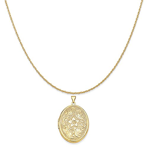 Mireval 14k Yellow Gold 32mm Oval Flower with Scrolls Locket Pendant on 14K Yellow Gold Rope Necklace, 20