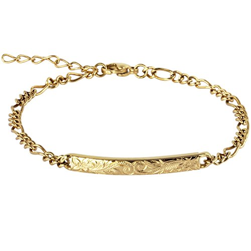 14K Gold Plated Hawaiian Bracelet by Austaras - Shiny Stainless Steel Hawaiian Jewelry with Adjustable Chain and Hawaiian Surfer Style Hibiscus Flower Charm by Hawaiian Jewelry Austaras (Image #7)