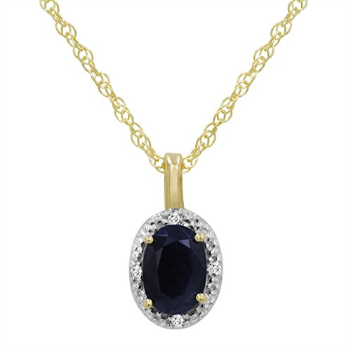 14K Yellow Gold Oval Sapphire and Diamond Pendant (.60ct tw 18
