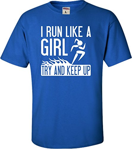 YM 10-12 Royal Youth I Run Like A Girl Try And Keep Up Funny Running (Blue Try Out T-shirt)