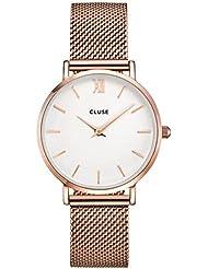 Cluse Womens Minuit 33mm Rose Gold-Tone Steel Bracelet Metal Case Quartz White Dial Analog Watch CL30013