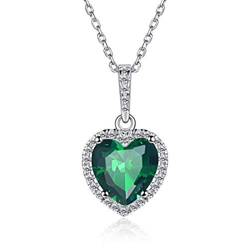 (Heart Necklace Love Emerald May Birthstone Necklace Sterling Silver Gemstone Pendant Heart Jewelry Gifts for Women Girls)