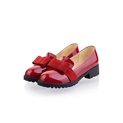 Susanny Women's Round Toe Patent Leather Slip on Shoes Sweet Bow Mid Heel Red Oxfords Loafers Shoes 8 B (M) US by Susanny