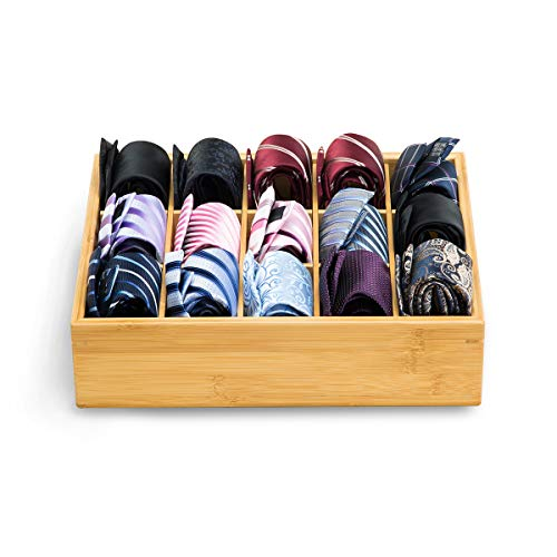 Gobam Closet Drawer Organizer,Drawer Divider and Storage Box for Bras,Briefs,Underwear,Socks,Towels,Ties,Compartments of 15,Natural Bamboo