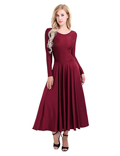 Praise Worship Charts - Freebily Womens Adult Praise Loose Fit Full Length Long Sleeve Dance Dress Wine Red Medium
