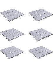 Pure Garden 50-LG1169 Patio and Deck Tiles – Interlocking Diamond Pattern Outdoor Flooring Pavers Weather Resistant
