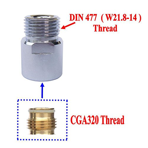 Cylinder Replacement Co2 (New CO2 Cylinders Tank CGA320 Thread to W21.8-14 Converts Adapters)