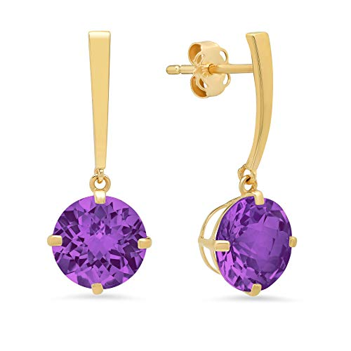 - 14k Yellow Gold Solitaire Round-Cut Amethyst Drop Earrings (8mm)