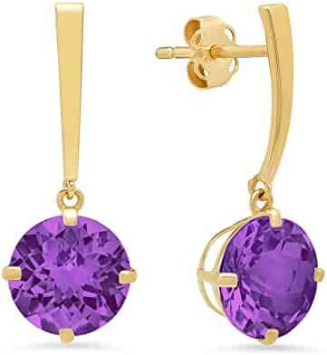 aa00e8aa0 14k White or Yellow Gold Solitaire Round-Cut Gemstone Drop Earrings (8mm)