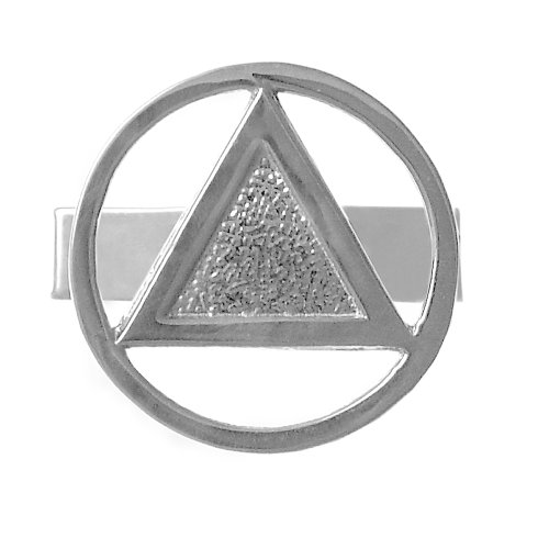 Alcoholics Anonymous AA Recovery Symbol Cuff Links, #400, Sterlin, Circle Triangle,Coin Style Finish (Gold Circle Cufflinks)