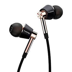 1MORE Triple Driver In-Ear Earphones Hi-Res Headphones with High Resolution, Bass Driven Sound, MEMS Mic, In-Line Remote, High Fidelity for Smartphones/PC/Tablet – Gold