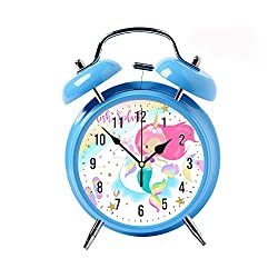 ZEREO 5 Colors Child Portable Cute Round Battery Alarm Clock Desktop Table Bedside Clocks Decor Blue Alarm Clock Gift Mermaid & Unicorn