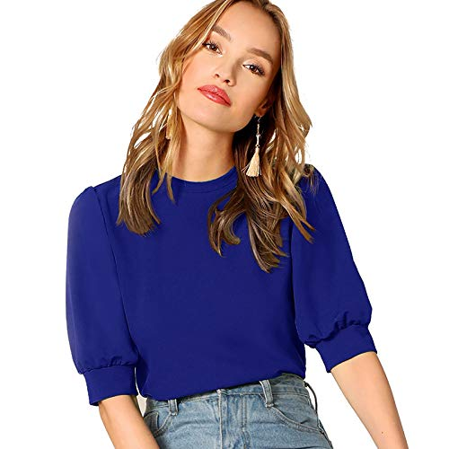 SheIn Women's Puff Sleeve Casual Solid Top Pullover Keyhole Back Blouse Blue Small