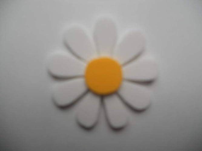 10 Flores de goma eva con 9 pétalos color blanco y estambre ...