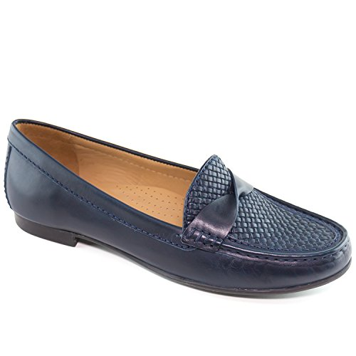 Driver Club USA Women's Genuine Leather Made In Brazil San Diego Fashion Comfortable Navy Twisted Weave Penny Loafer 8