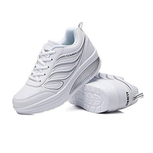 Tamaño Cordones Zapatillas Con Rosa Otoño Caminar Mujer Primavera De Y Exterior Creepers Negro D Piel Para Sintética Blanco 36 Zapatos Plataforma Tul color UWC170Oq08