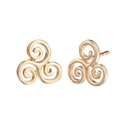 Dwcly Tiny Triple Spiral Swirl Triskelion Celtic Symbol Stud Earrings (gold) Triple Swirl Earrings