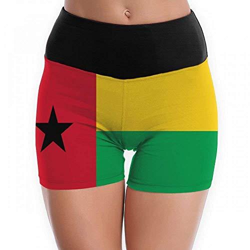 Krissry Summer Women's Flag of Guinea-Bissau Yoga Shorts Workout Running Capri Leggings Pants Hot Shorts WhiteMedium