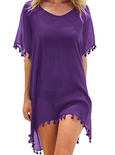 (Adreamly Women's Chiffon Bathing Suit Swimwear Tassel Beach Cover Up Free Size Purple )