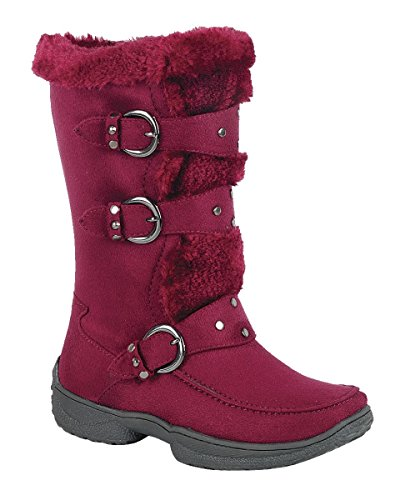Forever Link Little Girl Mid Calf Studded Strap Decorated Buckle Faux Fur Line Side Zip Winter Boot