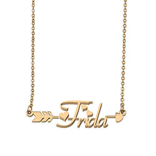 (Aoloshow Customized Custom Name Necklace Personalized - Custom Frida Initial Name Arrow Horizontal Monogrammed Necklace Gift for Womens Girls)
