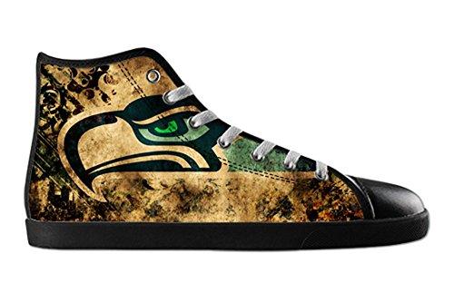 Seahawks Logo Mens Antidérapant Noir Haut Haut Toile Chaussures Seahawks Toile Shoes01