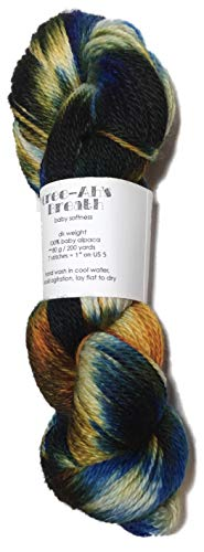 (Artisan Yarns Hand Dyed Baby Alpaca Yarn, Hand Painted: Woodstock, Dk Weight, 80 Grams, 200 Yards, 100% Baby Alpaca)