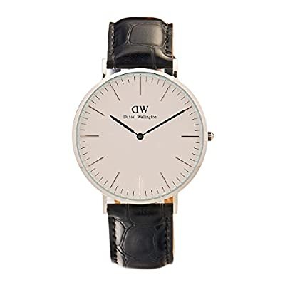 Daniel Wellington 'Classic' Quartz Stainless Steel and Leather Casual Watch, Color:Black (Model: DW00100028)