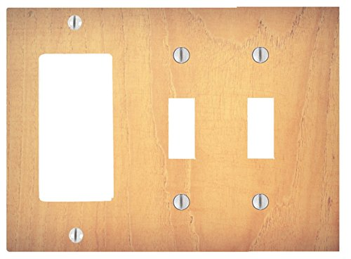 1 Wide Dimmer (Wood Rustic Light Wooden Cedar Background Printed On a 3 Gang, 2 Toggle, 1 Dimmer, Decorator Electrical Switch Wall Plate (6.56 x 4.69in))