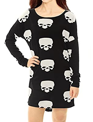 Allegra K Women's Scoop Neck Drop Shoulder Printed Tunic Knit Shirt M White-Skull