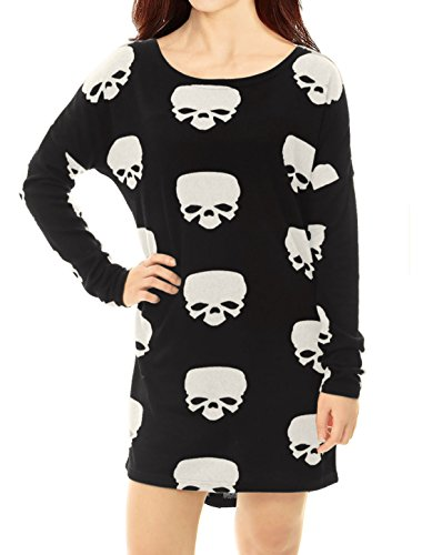 Allegra K Women's Scoop Neck Drop Shoulder Printed Tunic Knit Shirt XL White-skull
