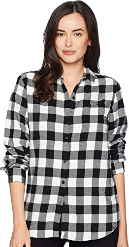 (Woolrich Women's Eco Rich Pemberton Boyfriend Flannel Shirt, Ivory Check,)