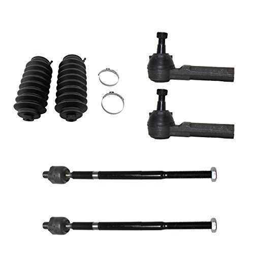 6pc Front Inner Outer Tie Rods & Rack Steering Boots - For 1999-2005 Volkswagen Jetta - [1999-2006 Golf] - 1998-2010 VW Beetle - CHECK YOUR CAR FOR SPECIFIC FITMENT DATES, LOOK AT BULLET POINT NOTES