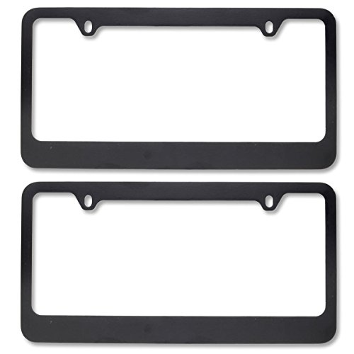 - InstaTrim Matte Black Metal License Plate Frames Pair (2pcs) - Modern Look for Car Auto Truck SUV