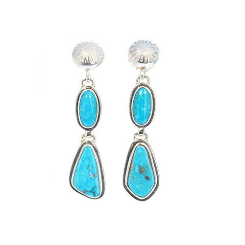 Morenci Turquoise Earrings 2 Stones Sterling Arizona Southwest ()