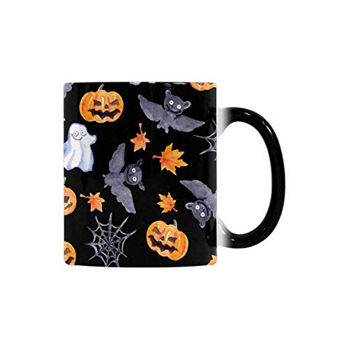 InterestPrint Funny Morphing Coffee Mug, Halloween Pumpkin, Bat, Web and Ghost Heat Sensitive Color Changing Tea Cup Mug, 11oz Novelty Cute Gift for Boys Girls Sister Brother