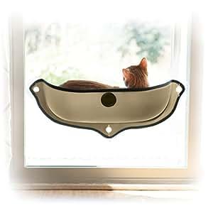 "K&H Manufacturing EZ Mount Window Bed Kitty Sill, 27"" x 11"", Tan"