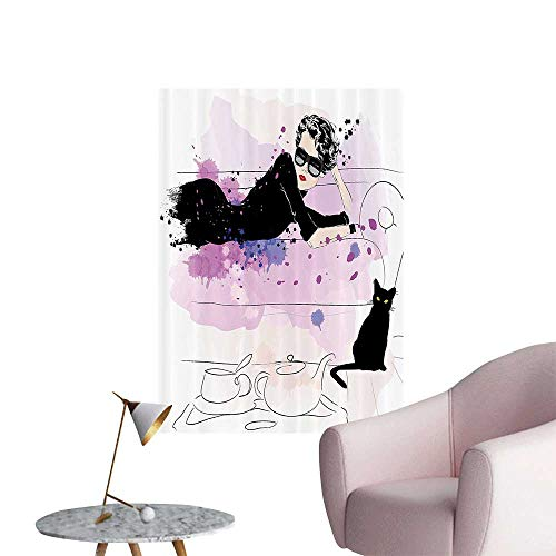 Modern Painting Girl with Sunglasses Lying Couch Cat Elegance in Home Theme with Stains Home Decoration,20