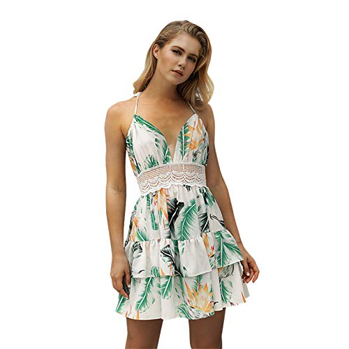 Price comparison product image Best Quality - Dresses - Casual Floral Print Sleeveless Spaghetti Strap Middle Waist Hollow Out Women's Pleated Beach Dress EU Size - by SeedWorld - 1 PCs