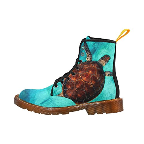 D-story Shoes Sea Turtles Lace Up Martin Boots Da Donna
