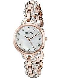 Womens 98L207 Crystal Analog Display Quartz Rose Gold Watch