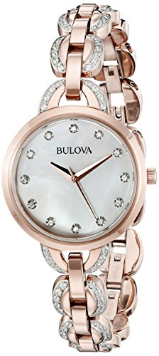 Bulova Women's 98L207 Crystal Analog Display Quartz Rose Gold Watch ()