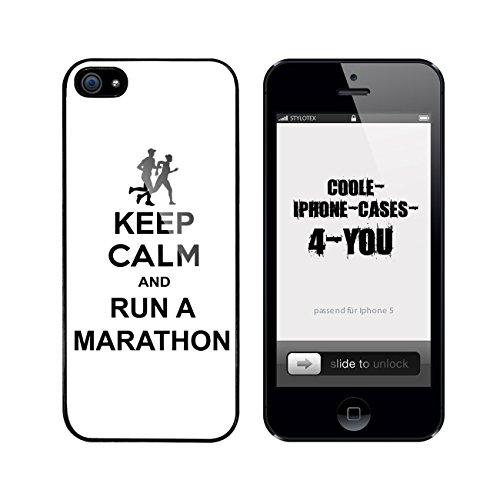 Iphone 5 / 5S Schutzhülle Keep Calm and run a Marathon - schwarzer Rahmen
