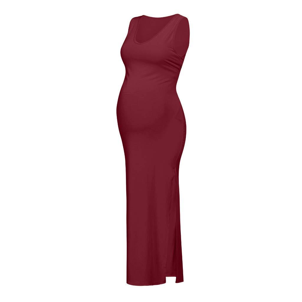 Vestido de Maternidad sin Mangas para Mujeres,Mujeres S/ólidas Maternidad Embarazada de Maternidad Accesorios Bodycon Casual Vestidos Largos