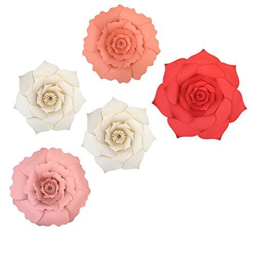 Flowers Wedding Red Pink (Big Handcraft Paper Flowers, Handmade Red Pink Wedding Birthday Party Backdrop Decoration, 5 Count)
