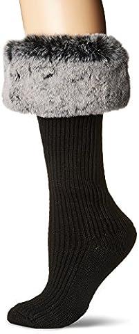 UGG Women's Faux Fur Cuff Tall Rainboot Sock, Charcoal, O/S - Faux Ugg Boots
